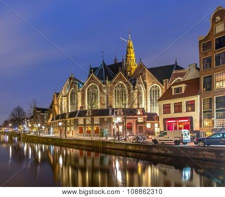 Oude Kerk Amsterdam Night