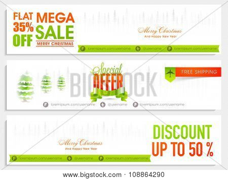 Mega Sale website header or banner set with different discount offer for Merry Christmas celebration. poster