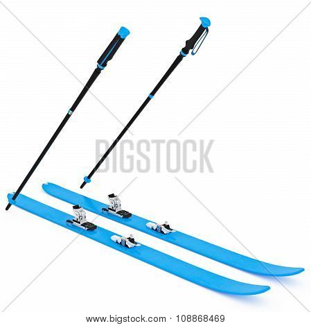 Skiing blue, fixation and ski poles