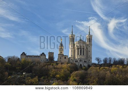 the fourviere basilica on the top of the hill at Lyon, France