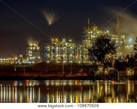 Industrial Chemical Factory Detail Water Reflection
