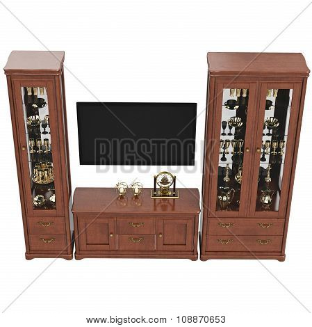 Sideboards with TV and dresser, top view