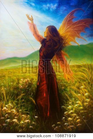 painting fairy woman in a historic dress standing in rays of sunlight amids a wild meadow Color effe