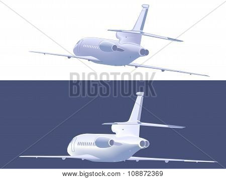 Flying Small Airliner. Rear  View. Vector Illustration.