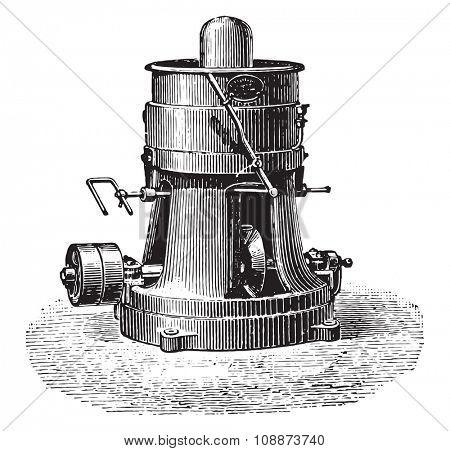 Sander or sanding machine, vintage engraved illustration. Industrial encyclopedia E.-O. Lami - 1875.