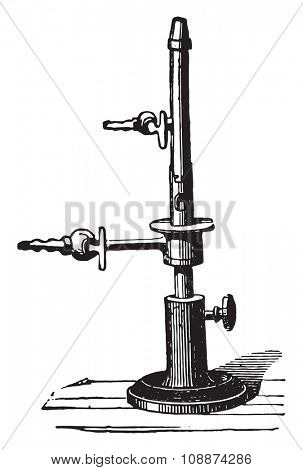 Debray torch for spectral analysis, vintage engraved illustration. Industrial encyclopedia E.-O. Lami - 1875.