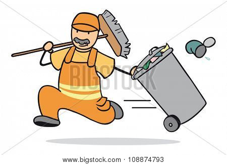 Cartoon man as garbage collector running with trash can