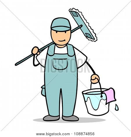 Cartoon man as cleaner with working for cleaning service