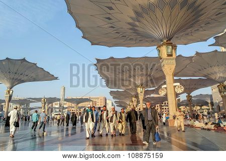 Muslims After Friday Prayers  Front Of The Nabawi Mosque, Medina, Saudi Arabia