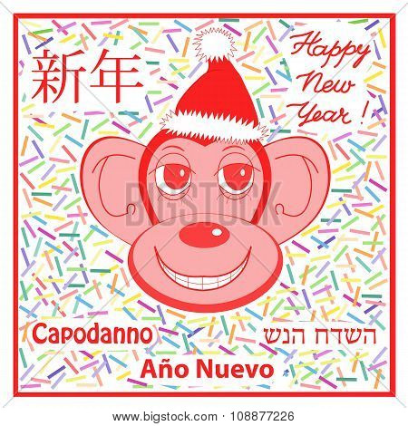 Stylish Illustration Of A Monkey As A Symbol Of The New Year On The Chinese Calendar Against The Bac