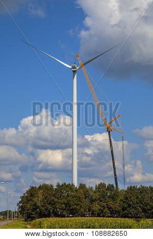 Wind Turbine Being Serviced