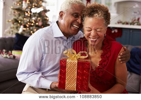 Senior Couple Exchanging Christmas Gifts At Home