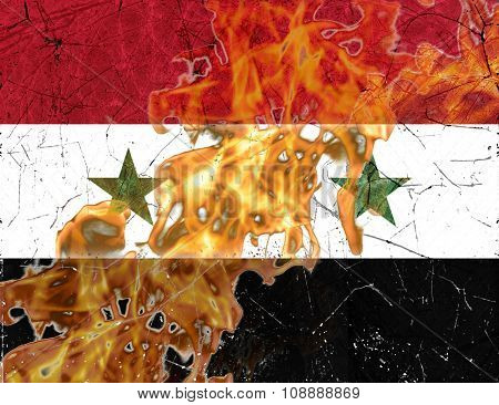 Syria Flag Burning War Concept
