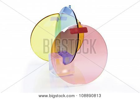 Resin glass for spectacles on a white background poster