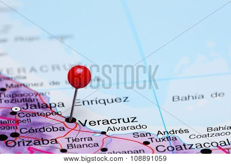 Veracruz pinned on a map of Mexico