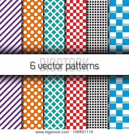 Set of 6 vector endless patterns