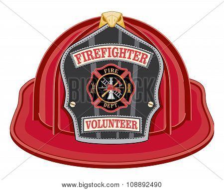 Firefighter Volunteer Red Helmet