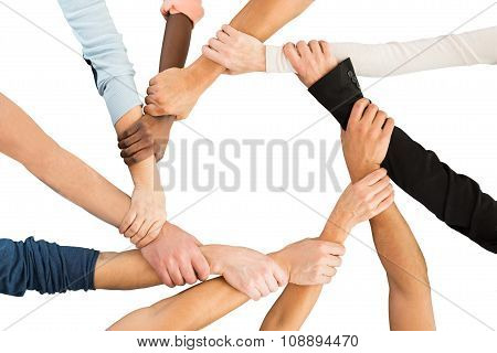 Creative Business People Holding Each Other's Hand Showing Unity