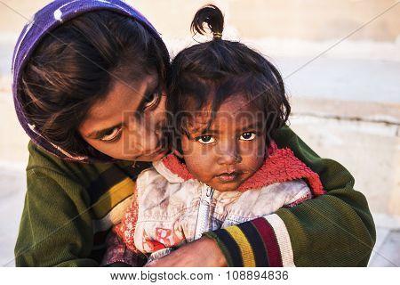 Indian Street Children In Pushkar, Rajasthan, India