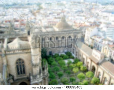 Defocused Background Of Sevilla. Intentionally Blurred Post Production