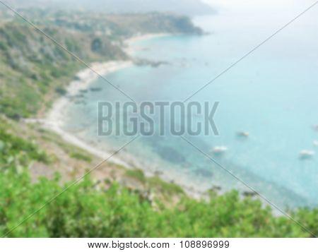 Defocused Background With Aerial View Of The Coastline At Capo Vaticano, Italy