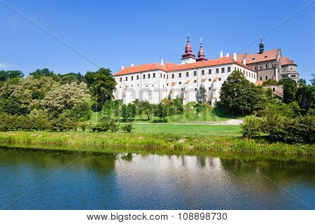 romanesque St. Procopius basilica and monastery, jewish town Trebic (UNESCO, the oldest Middle ages settlement of jew community in Central Europe), Moravia, Czech republic, Europe poster