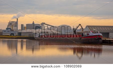 Barge Being Loaded At A Harbour In The Netherlands