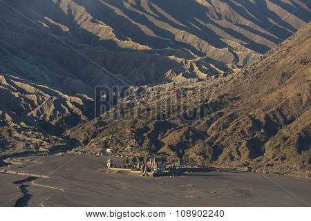Aerial view of Hindu temple Pura Luhur Poten at sunrise Bromo Java ,Indonesia.