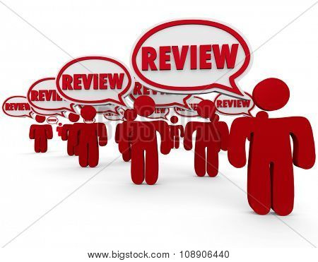 Review word in speech bubbles over the heads of people or critics sharing their views, feedback, comments or opinions