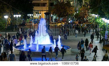 Athens, Greece 11 November 2015. Ordinary night life at Sintagma Athens square.