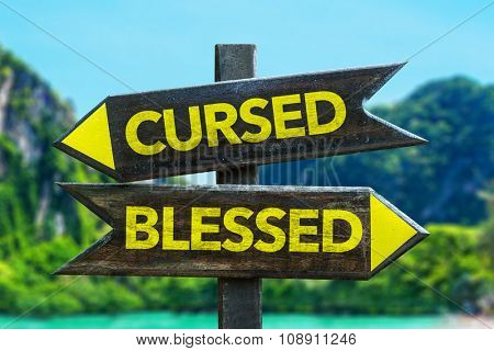 Cursed - Blessed signpost in a beach background
