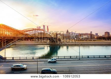 View to the Moscow River and a pedestrian bridge near Kiev Railway Station in Moscow, Russia