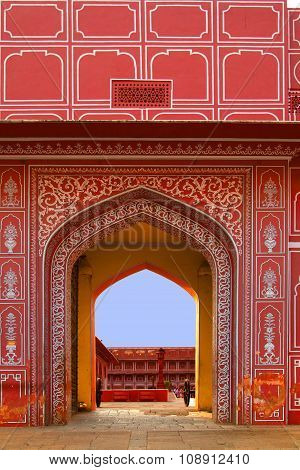 JAIPUR, INDIA - MAY 5, 2013: Entrance to City Palace Jaipur India. It was the seat of the Maharaja of Jaipur the head of the Kachwaha Rajput clan. The Chandra Mahal palace seen in this photo now houses a museum.