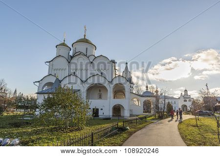 Suzdal, Russia -06.11.2015. Intercession Cathedral at St. Pokrovsky Monastery was built in the 16th century. Golden Ring Travel