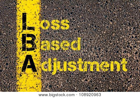 Concept image of Business Acronym LBA as Loss Based Adjustment written over road marking yellow paint line. poster