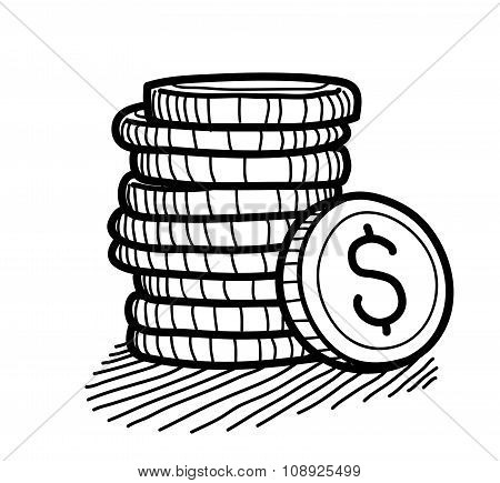 Stack of Coins Doodle (Dollar)