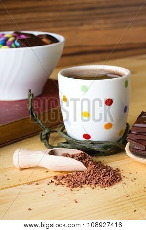 Hot Chocolate In Front Of White Bowl