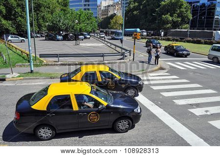 Buenos Aires City Taxi On The Street