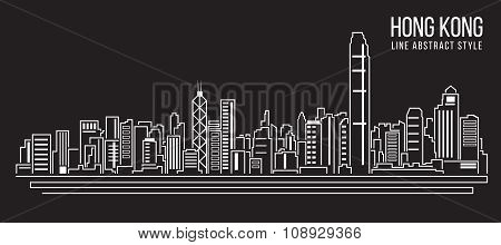 Cityscape Building Line art Vector Illustration design (Hong Kong city)
