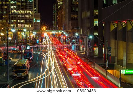 Downtown Toronto City Traffic, Long Exposure