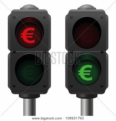 Euro Business Symbol Traffic Lights