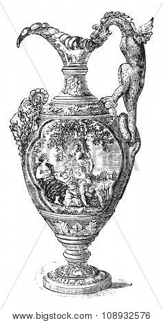 Ewer, Nevers earthenware, vintage engraved illustration. Industrial encyclopedia E.-O. Lami - 1875.