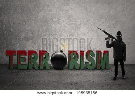 Jihadist With Bloody Terrorism Text