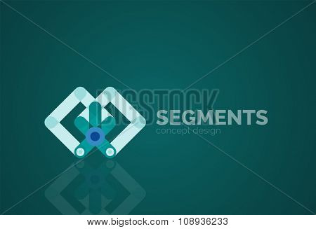 Outline minimal abstract geometric logo, linear business icon made of line segments, elements. Vector illustration poster