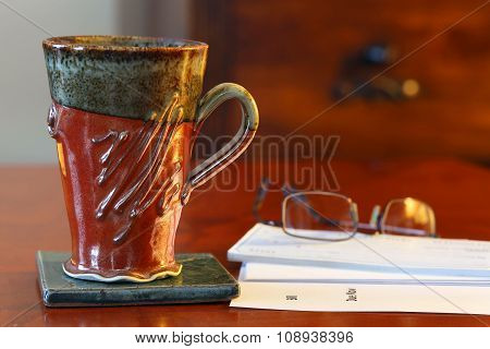 Coffee mug on desk