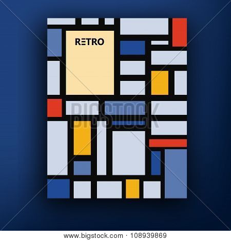 Vector Retro Bauhaus De Stijl Brochure Booklet Cover Design Templates Collection A4