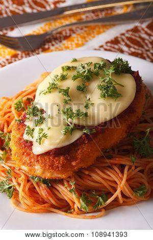 Italian Food: Chicken Parmigiana And Spaghetti Closeup. Vertical