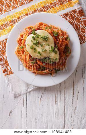 Italian Chicken Parmigiana And Pasta. Vertical Top View