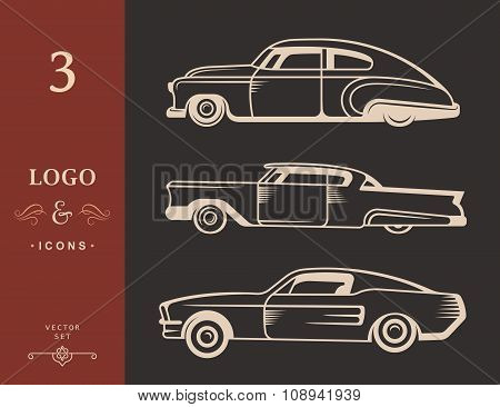 Set Vector Vintage Old Cars