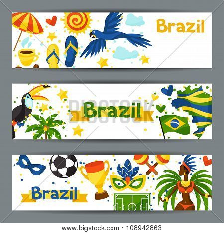 Brazil banners with stylized objects and cultural symbols